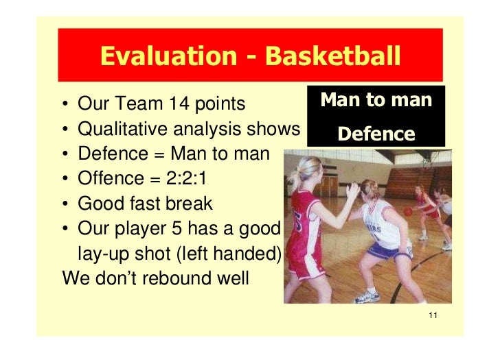 Evaluation - Basketball•Our Team 14 points           Man to man•Qualitative analysis shows    Defence•Defence = Man to man...