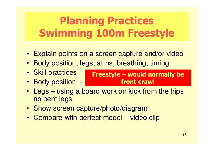 Planning Practices    Swimming 100m Freestyle• Explain points on a screen capture and/or video• Body position, legs, arms,...