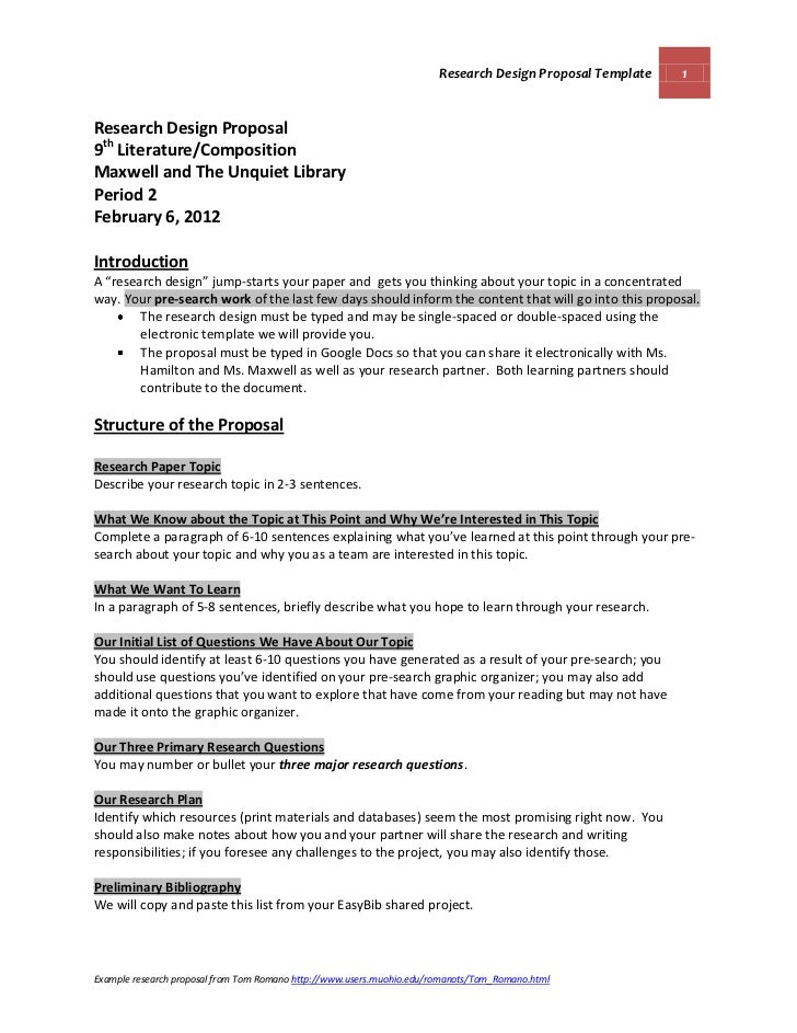 research design proposal example A research proposal is an initial set of ideas for a  methodologies and design proposed n does the research proposed address the key questions  for example .