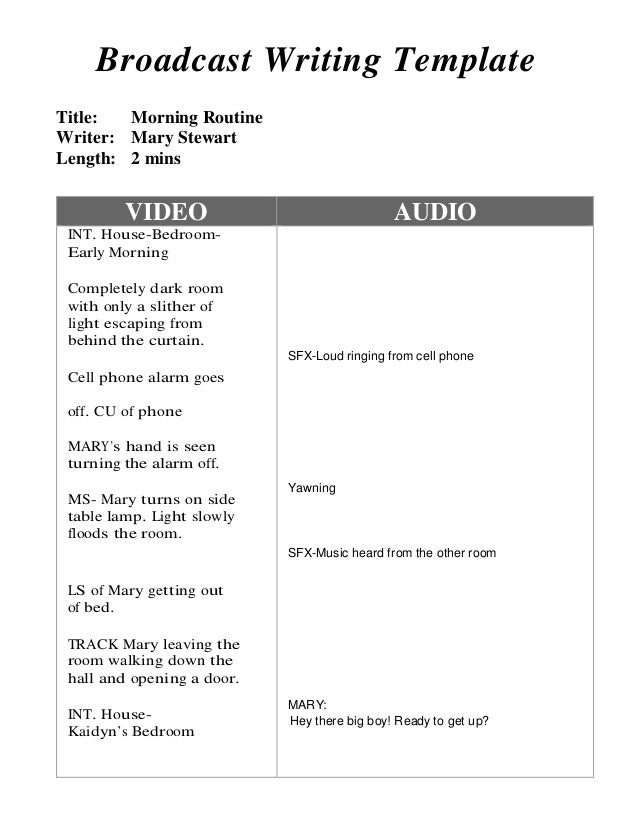 av script template - example of completed dual column script morning routine