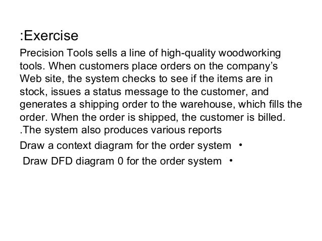 exercise precision tools sells a line of high quality woodworking tools when customers context diagram of order system level 0
