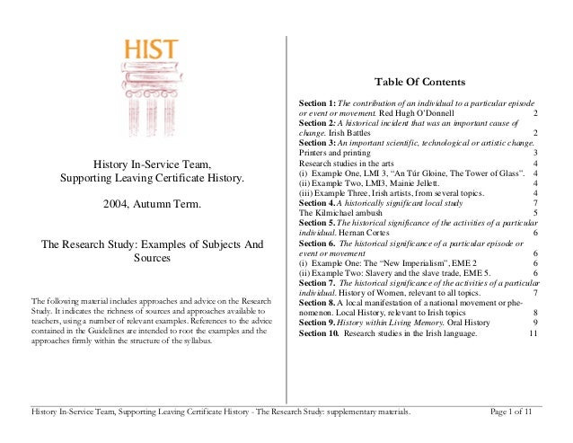 History In-Service Team, Supporting Leaving Certificate History - The Research Study: supplementary materials. Page 1 of 1...