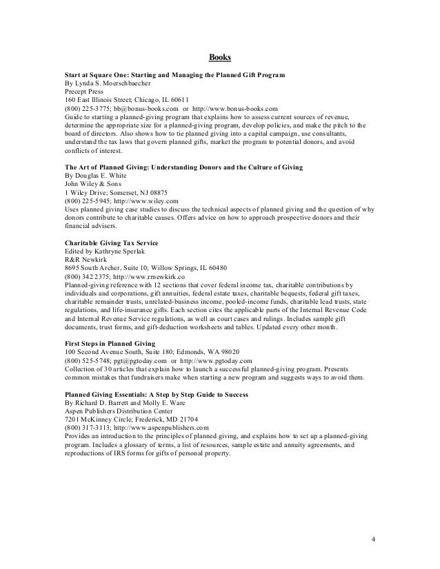 Example Planned Giving And Donation Programs Resource List