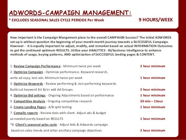 Ppc Adwords Campaign Set Up Weekly Maintenance