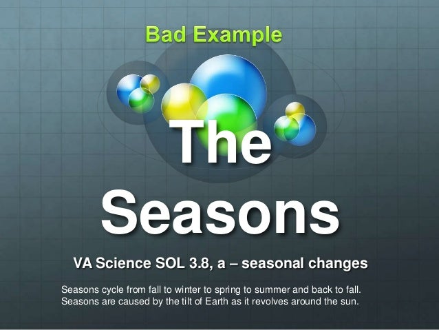 The Seasons VA Science SOL 3.8, a – seasonal changes Seasons cycle from fall to winter to spring to summer and back to fal...