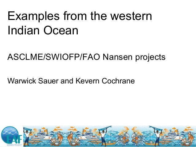 Examples from the western Indian Ocean ASCLME/SWIOFP/FAO Nansen projects Warwick Sauer and Kevern Cochrane