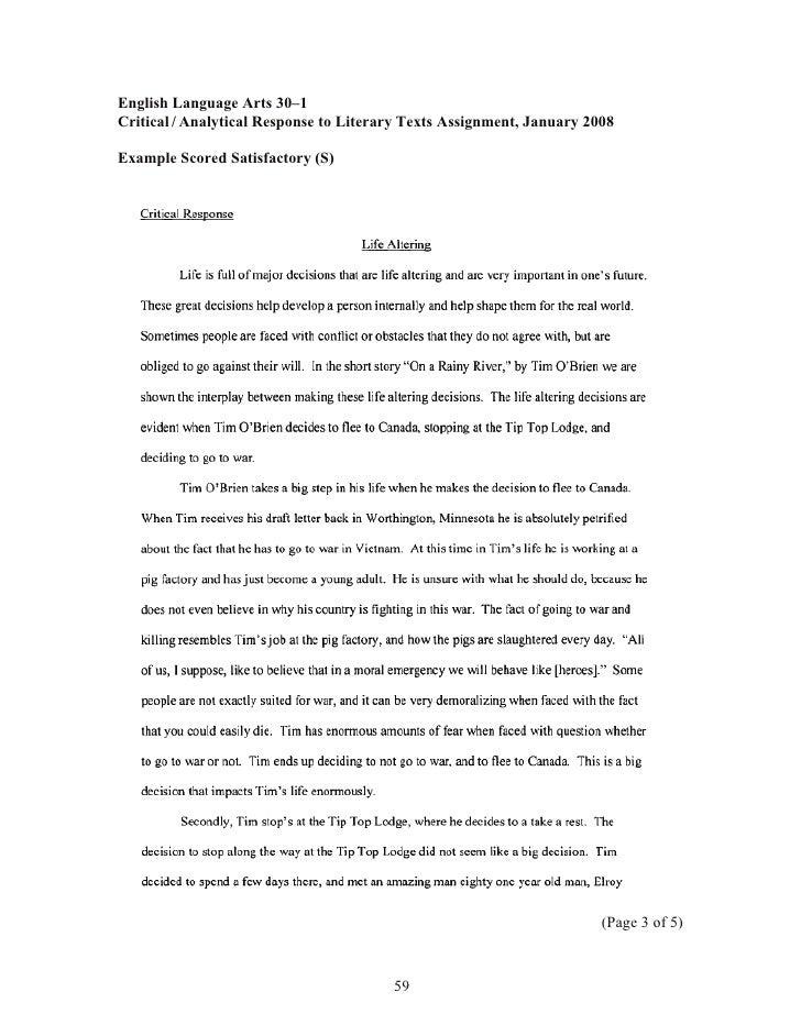 critical response essay example classification essay thesis  critical analytical essay examples alberta image 4 critical response essay example