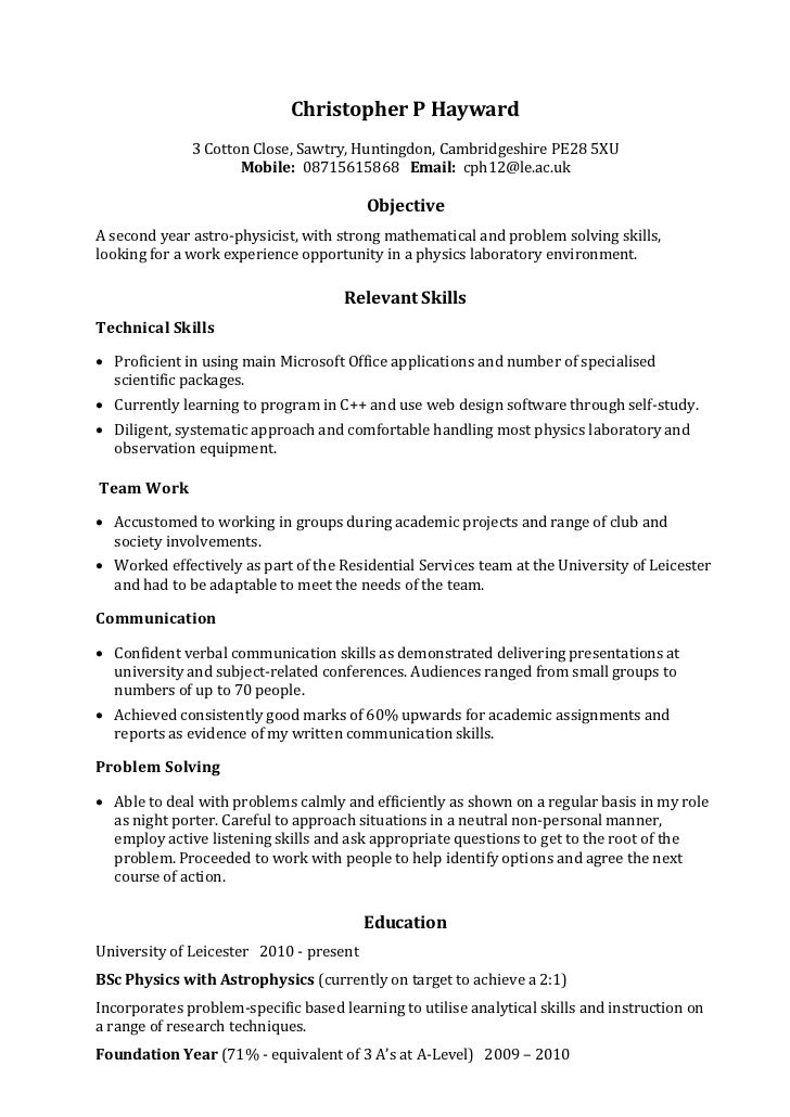 Example Skills Based CV. Christopher P Hayward 3 Cotton Close, Sawtry,  Huntingdon, Cambridgeshire PE28 5XU ...  Communication Resume Sample