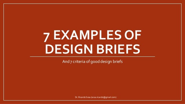 Architecture Design Brief examples of design briefs
