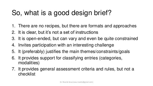 Examples Of Design Briefs