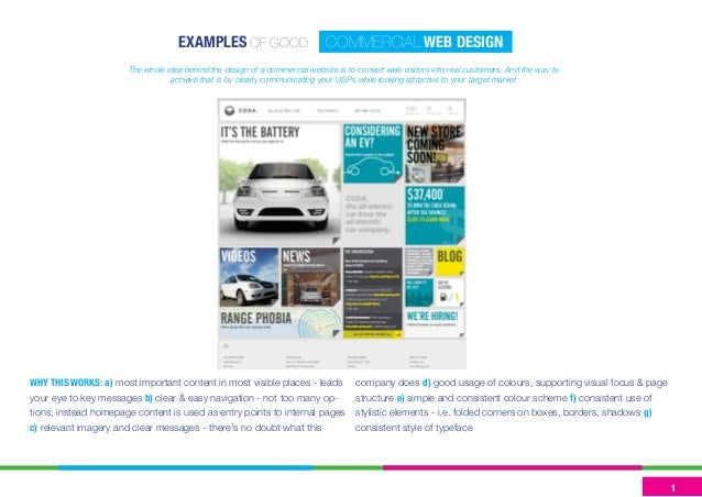 EXAMPLES OF GOOD COMMERCIAL WEB DESIGN  WHY THIS WORKS: a) most important content in most visible places - leads your eye ...