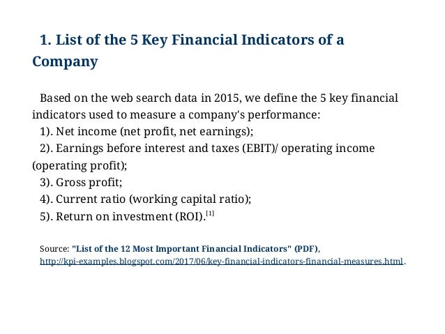 Key financial indicators in a business plan