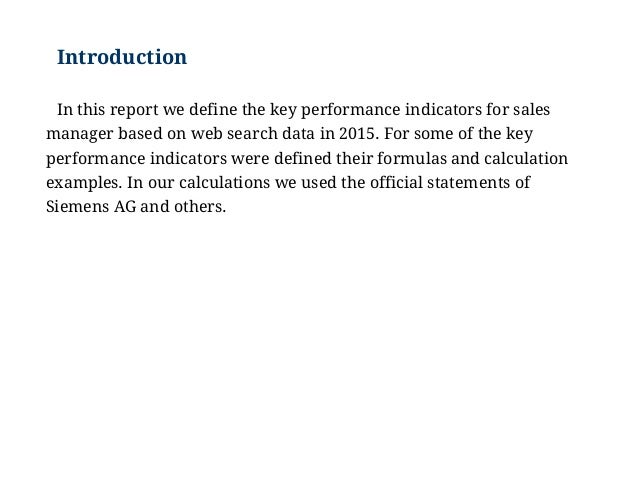 Examples of Key Performance Indicators for Sales Manager: KPI Example…