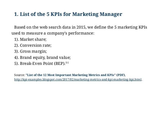 Examples of kpis for marketing manager marketing key performance ind 3 1 list of the 5 kpis maxwellsz