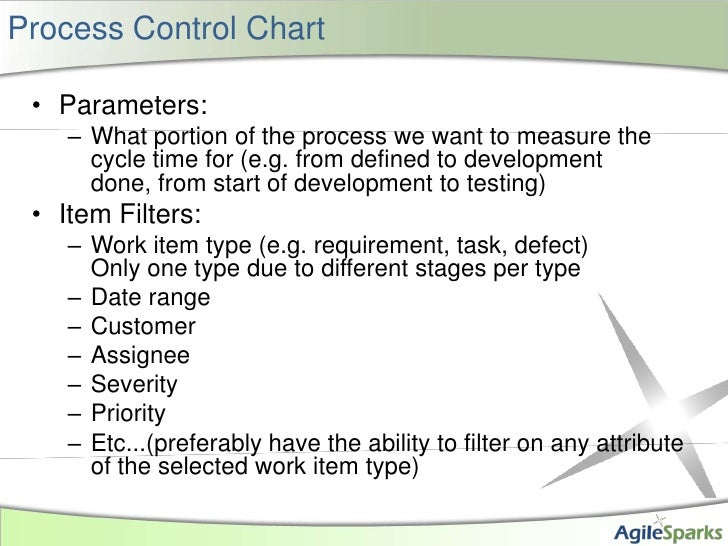 Process Control Chart<br />Parameters:<br />What portion of the process we want to measure the cycle time for (e.g. from d...