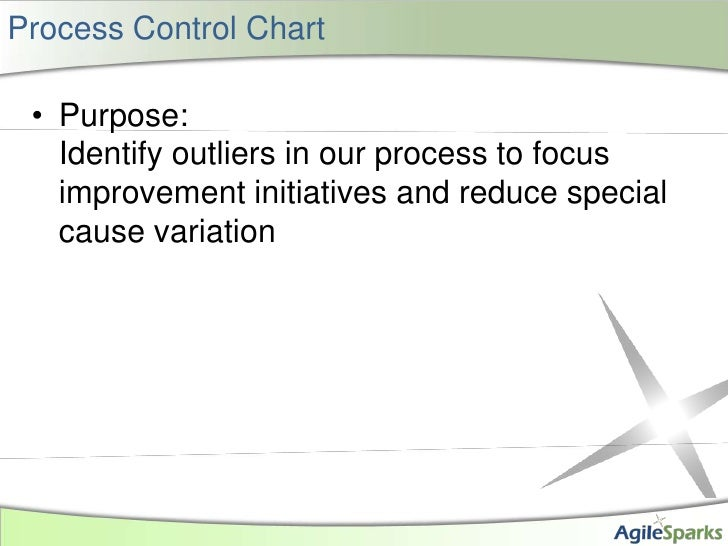 Process Control Chart<br />Purpose:Identify outliers in our process to focus improvement initiatives and reduce special ca...