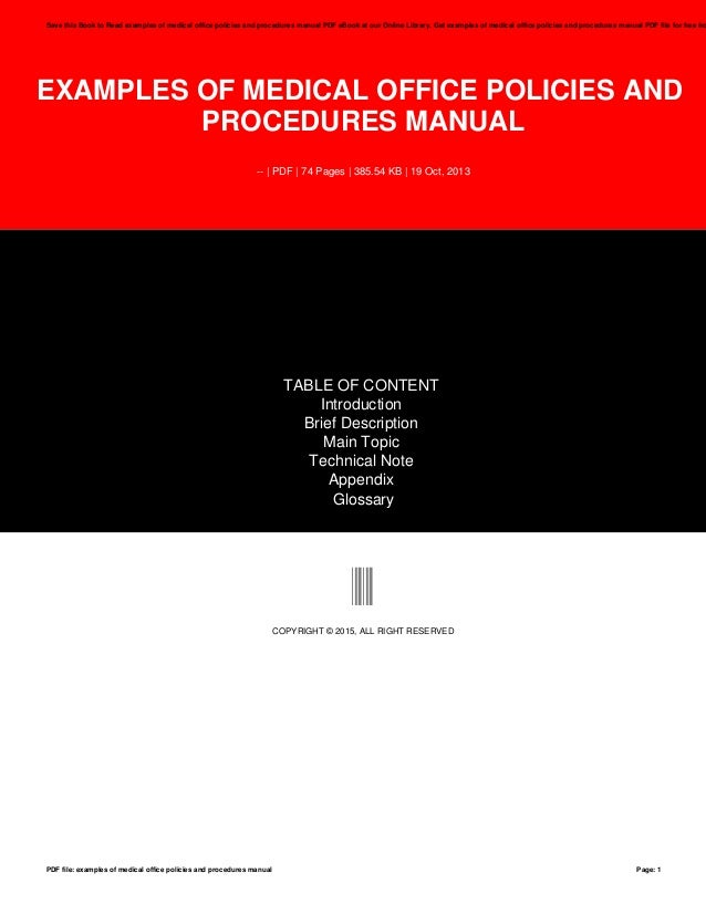 Examples Of Medical Office Policies And Procedures Manual