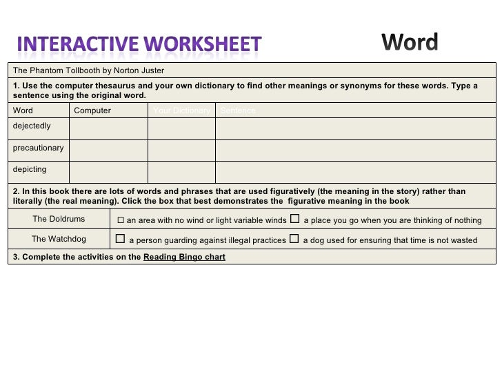 Examples of reading activities – Phantom Tollbooth Worksheets