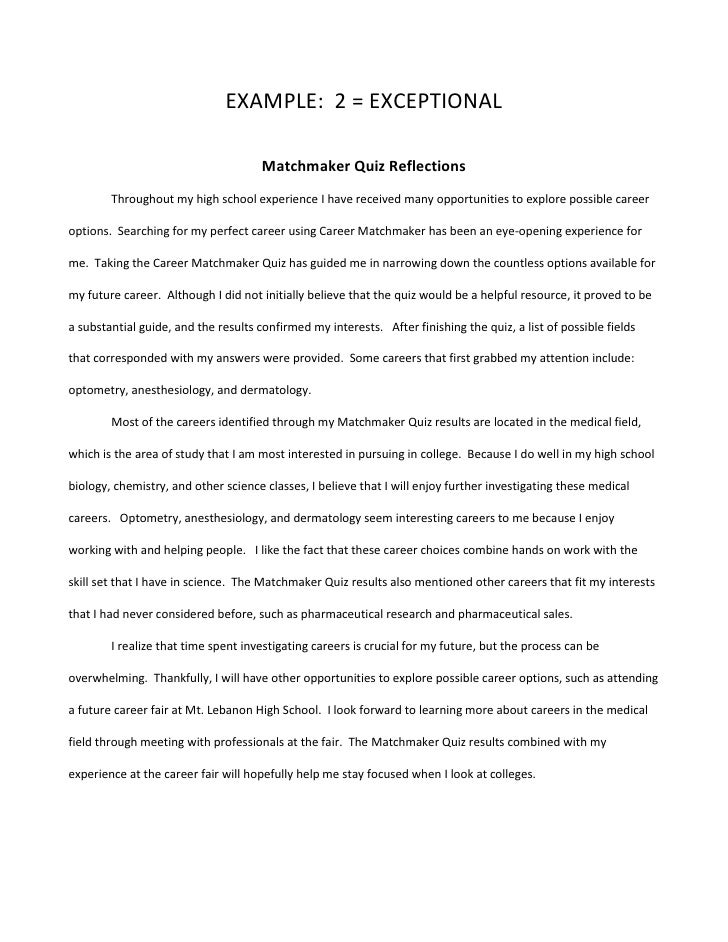 Career fair reflective essay ideas
