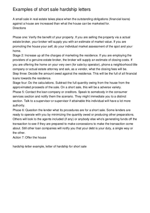 Great Sample Mortgage Hardship Letter – Letter Format Writing
