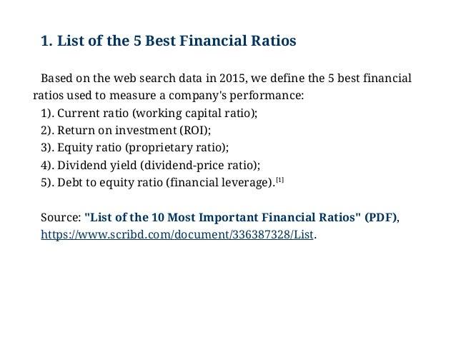 Examples Of The Best Financial Ratios Key Financial Ratio Formulas