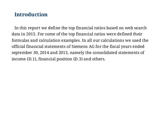 Examples Of The Top Financial Ratios Analysis Example Major Ratios
