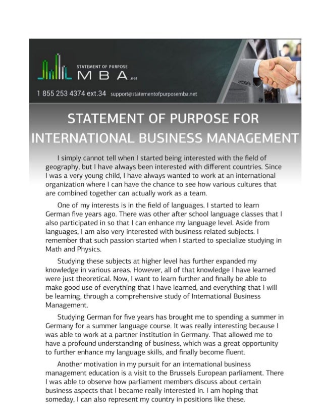 Example Statement Of Purpose For International Business