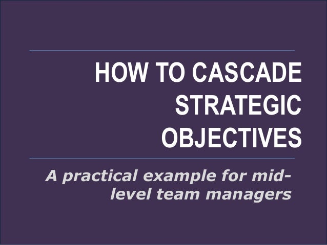 HOW TO CASCADE STRATEGIC OBJECTIVES A practical example for mid- level team managers