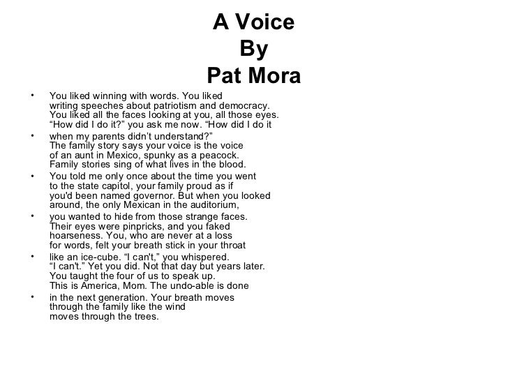 """sonrisas by pat mora essay In pat mora's """"sonrisas,"""" a woman tells the audience that she lives in between  two worlds: her vapid office workplace and a kitchen/break-room with family."""