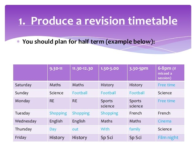 examples of revision timetables