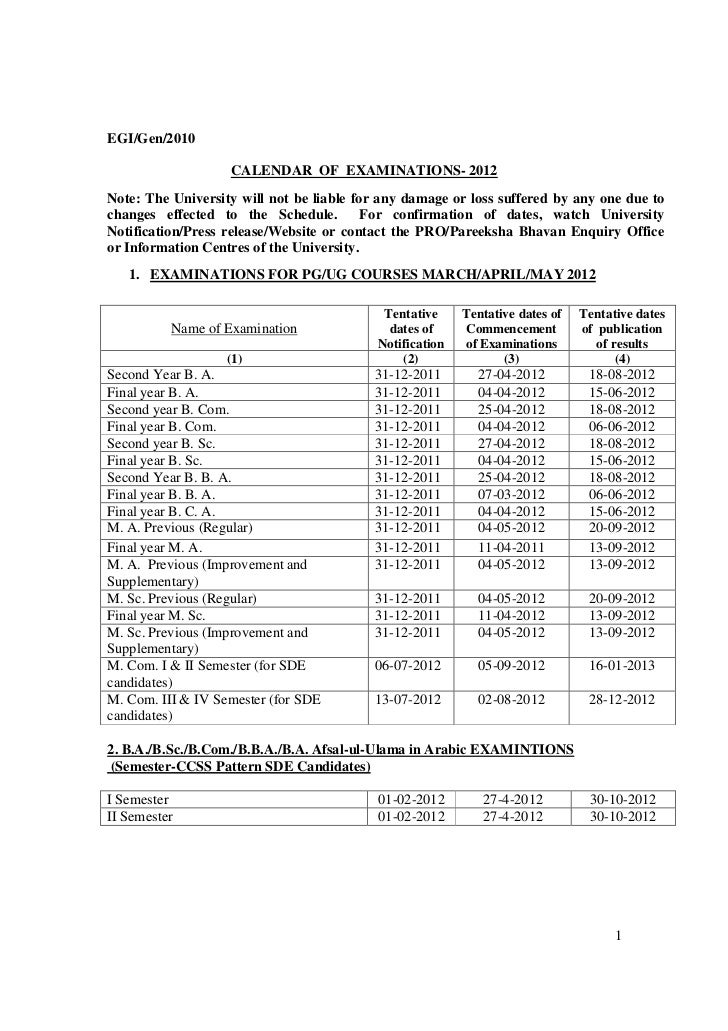 EGI/Gen/2010                   CALENDAR OF EXAMINATIONS- 2012Note: The University will not be liable for any damage or los...