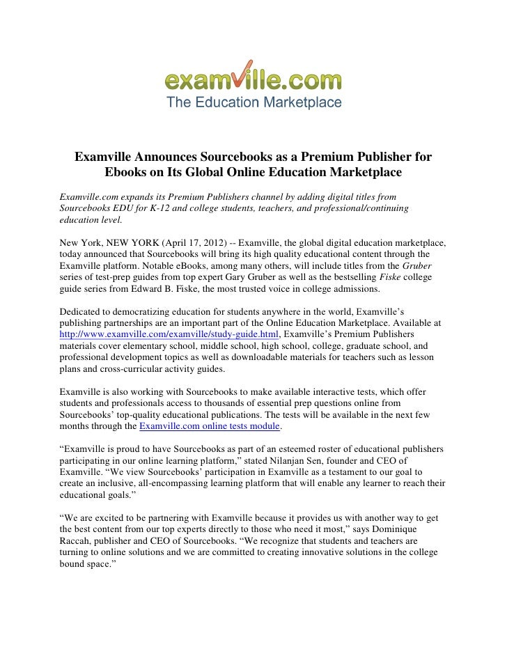 Examville Announces Sourcebooks as a Premium Publisher for       Ebooks on Its Global Online Education MarketplaceExamvill...