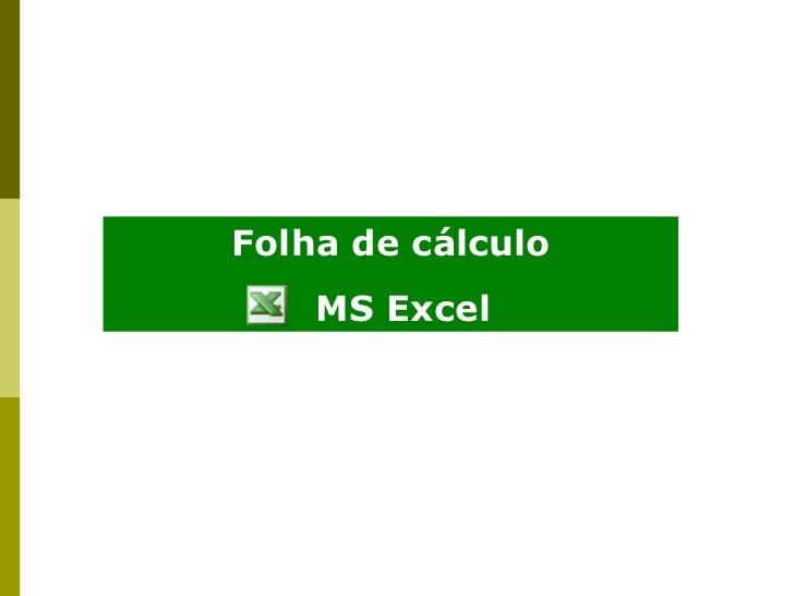 Folha de cálculo MS Excel