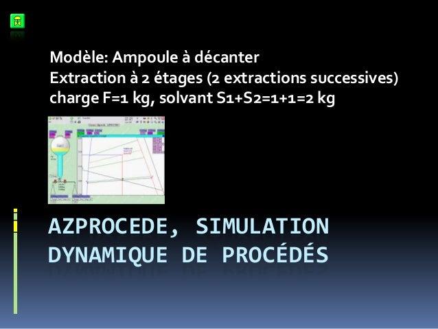 Modèle: Ampoule à décanter Extraction à 2 étages (2 extractions successives) charge F=1 kg, solvant S1+S2=1+1=2 kg  AZPROC...