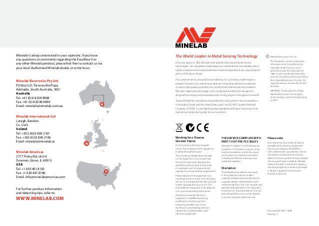 Instruction Manual Minelab Excalibur II Metal Detector