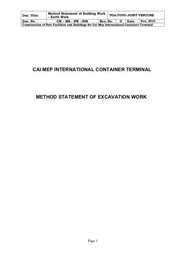 Doc. Title Method Statement of Building Work  – Earth Work TOA-TOYO JOINT VENTURE  Doc. No CM – MS – BW - 008 Rev. No. 0 D...