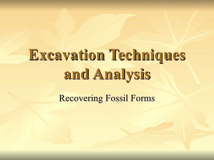 Excavation Techniques and Analysis Recovering Fossil Forms