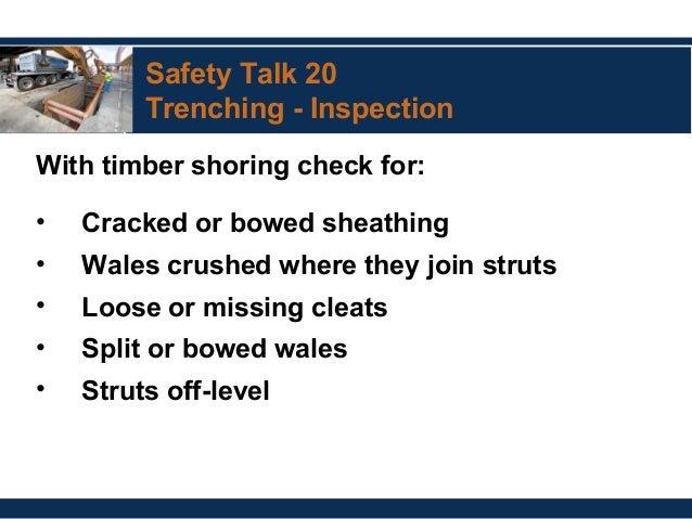 Split Or Broken Sheathing 61 Safety Talk 20 Trenching