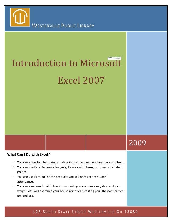 microsoft excel 2007 tutorial full pdf