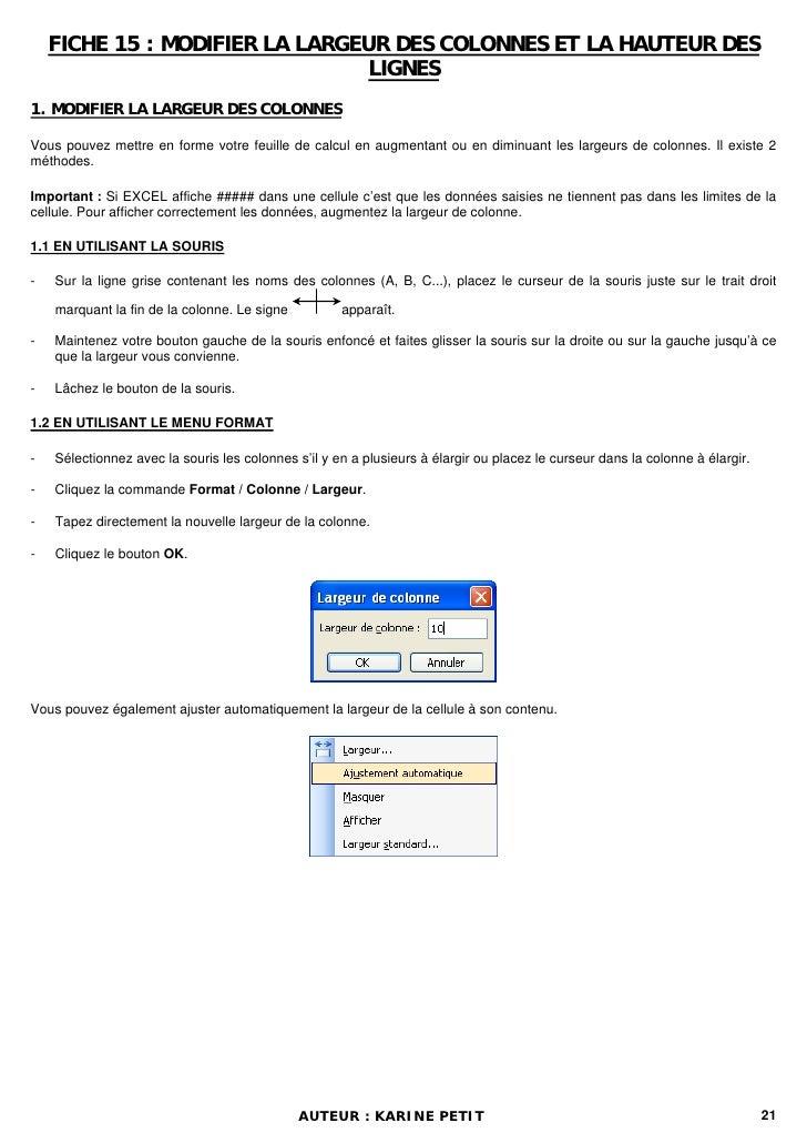 FICHE 15 : MODIFIER LA LARGEUR DES COLONNES ET LA HAUTEUR DES                                 LIGNES1. MODIFIER LA LARGEUR...