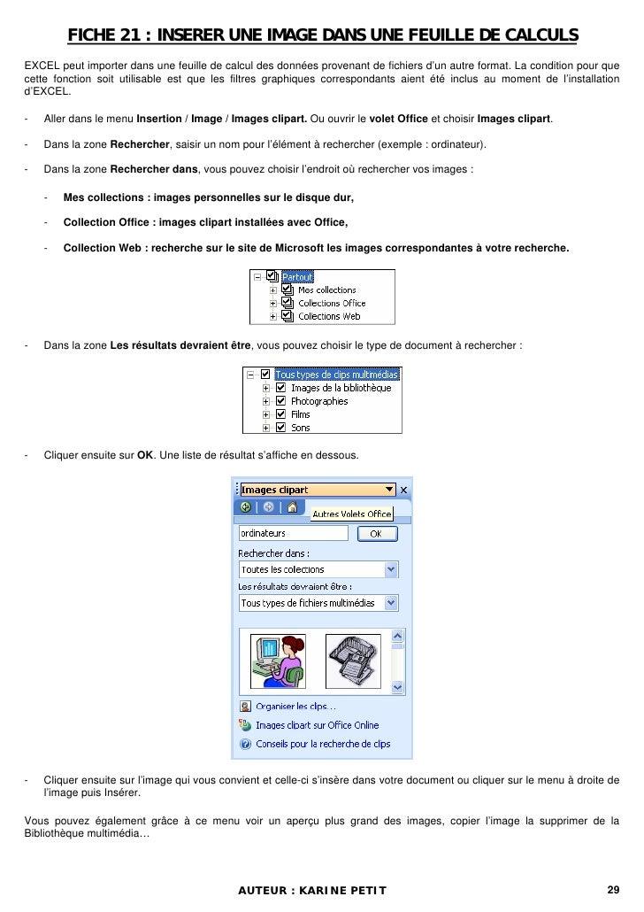 FICHE 21 : INSERER UNE IMAGE DANS UNE FEUILLE DE CALCULSEXCEL peut importer dans une feuille de calcul des données provena...