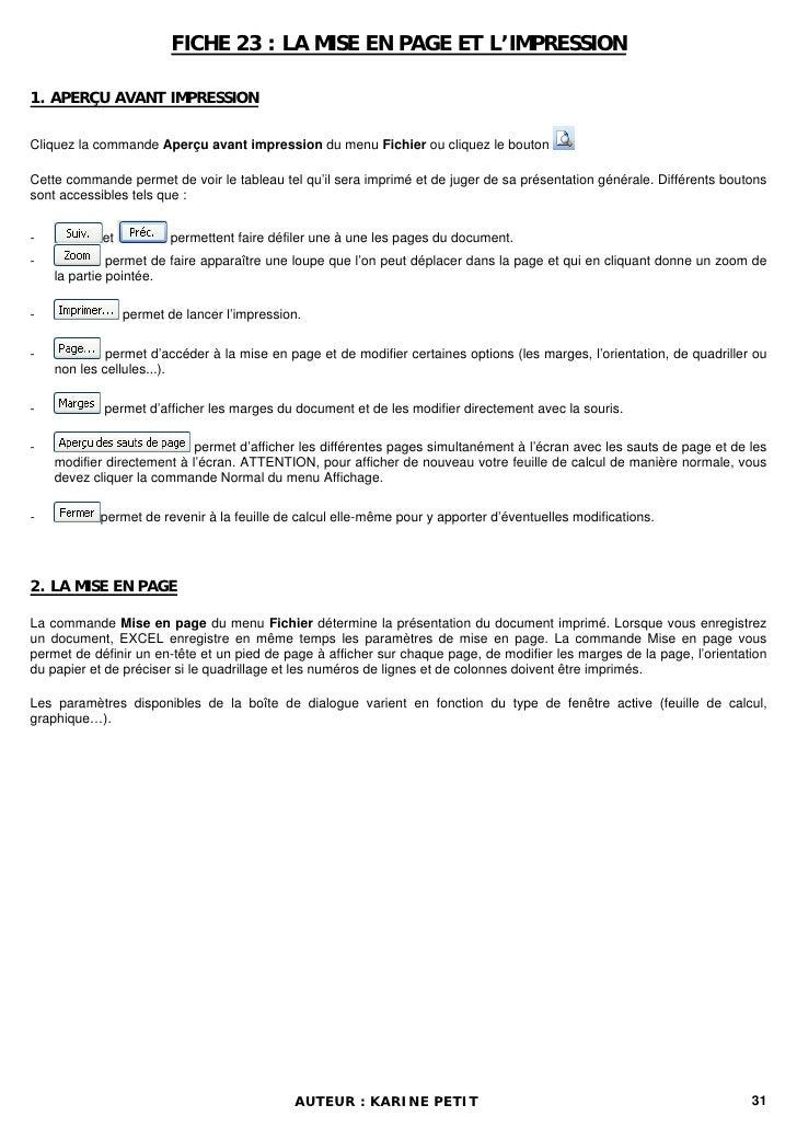 FICHE 23 : LA MISE EN PAGE ET L'IMPRESSION1. APERÇU AVANT IMPRESSIONCliquez la commande Aperçu avant impression du menu Fi...
