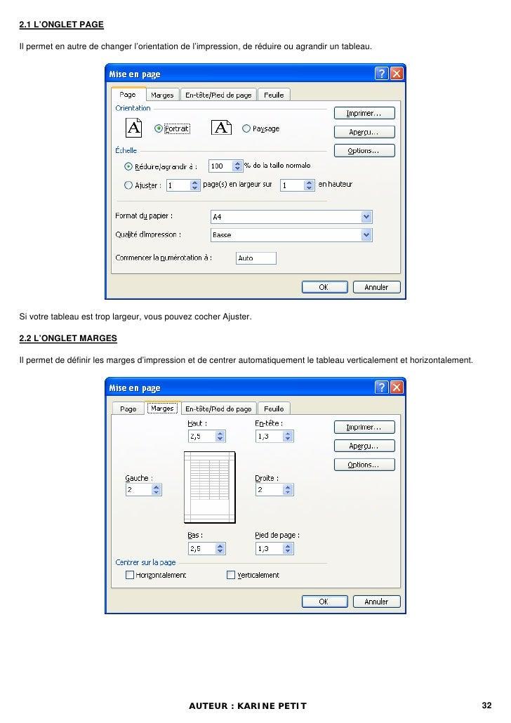 2.1 L'ONGLET PAGEIl permet en autre de changer l'orientation de l'impression, de réduire ou agrandir un tableau.Si votre t...