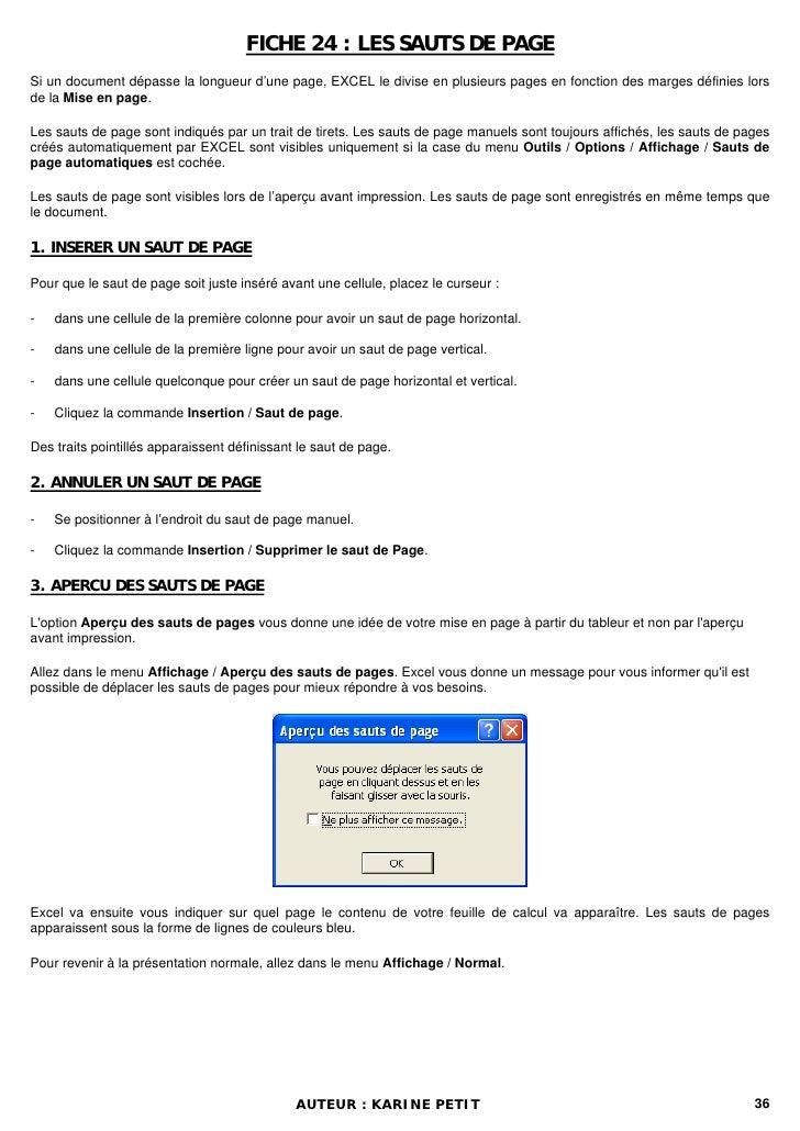 FICHE 24 : LES SAUTS DE PAGESi un document dépasse la longueur d'une page, EXCEL le divise en plusieurs pages en fonction ...