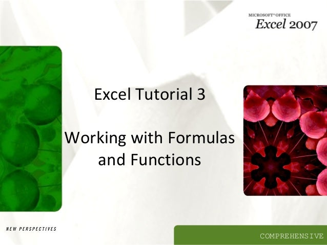 Excel Tutorial 3 Working with Formulas and Functions  COMPREHENSIVE
