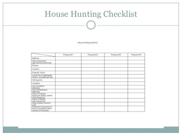 House hunting checklist for House buying checklist template