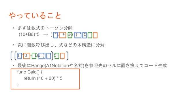やっていること • まずは数式をトークン分解 (10+B6)*5 → ( 10 + B6 ) * 5 • 次に関数呼び出し、式などの木構造に分解 ( 10 + B6 ) * 5 • 最後にRange(A1Notationや名前)を参照先のセルに...