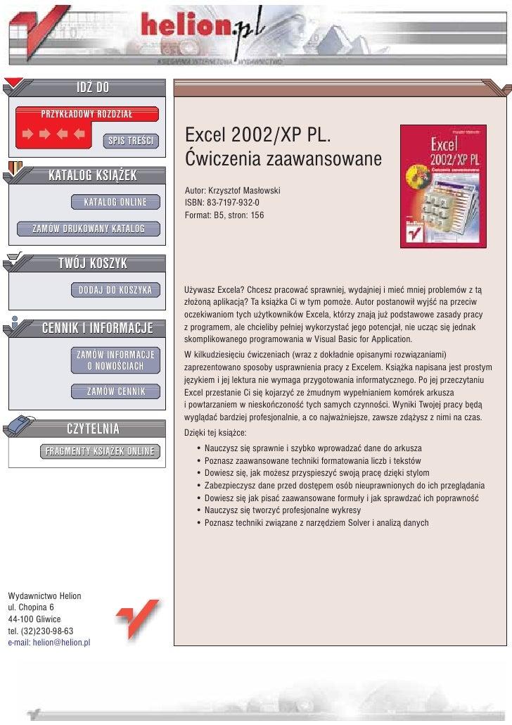 IDZ DO          PRZYK£ADOWY ROZDZIA£                             SPIS TRE CI   Excel 2002/XP PL.                          ...
