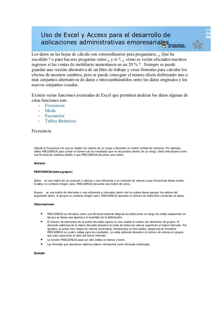 Uso de Excel y Access para el desarrollo de      aplicaciones administrativas empresarialesLos datos en las hojas de cálcu...