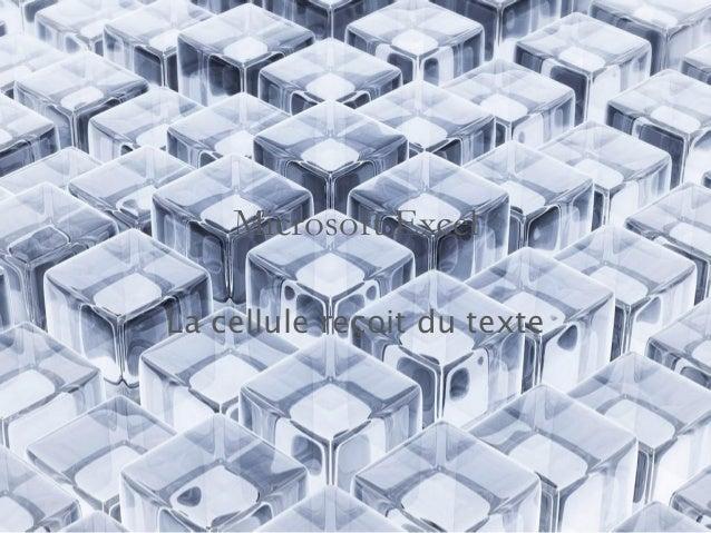 Microsoft Excel  La cellule reçoit du texte
